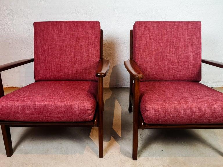Midcentury Easy Chairs Model Ge-88 Massive Teak Wood GETAMA, Denmark, 1960s 1