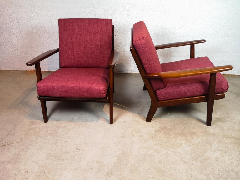 Midcentury Easy Chairs Model Ge-88 Massive Teak Wood GETAMA, Denmark, 1960s 2