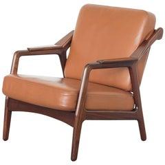 Jahrhundertmitte Sessel aus Teakholz und Leder von Brockmann Petersen für Randers