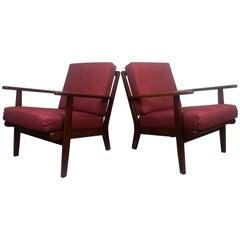 Midcentury Easy Chairs Model Ge-88 Massive Teak Wood GETAMA, Denmark, 1960s