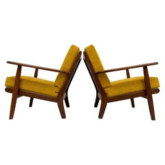 Midcentury Easy Chairs Model Ge-88 Massive Teak Wood GETAMA, Denmark, 1960s