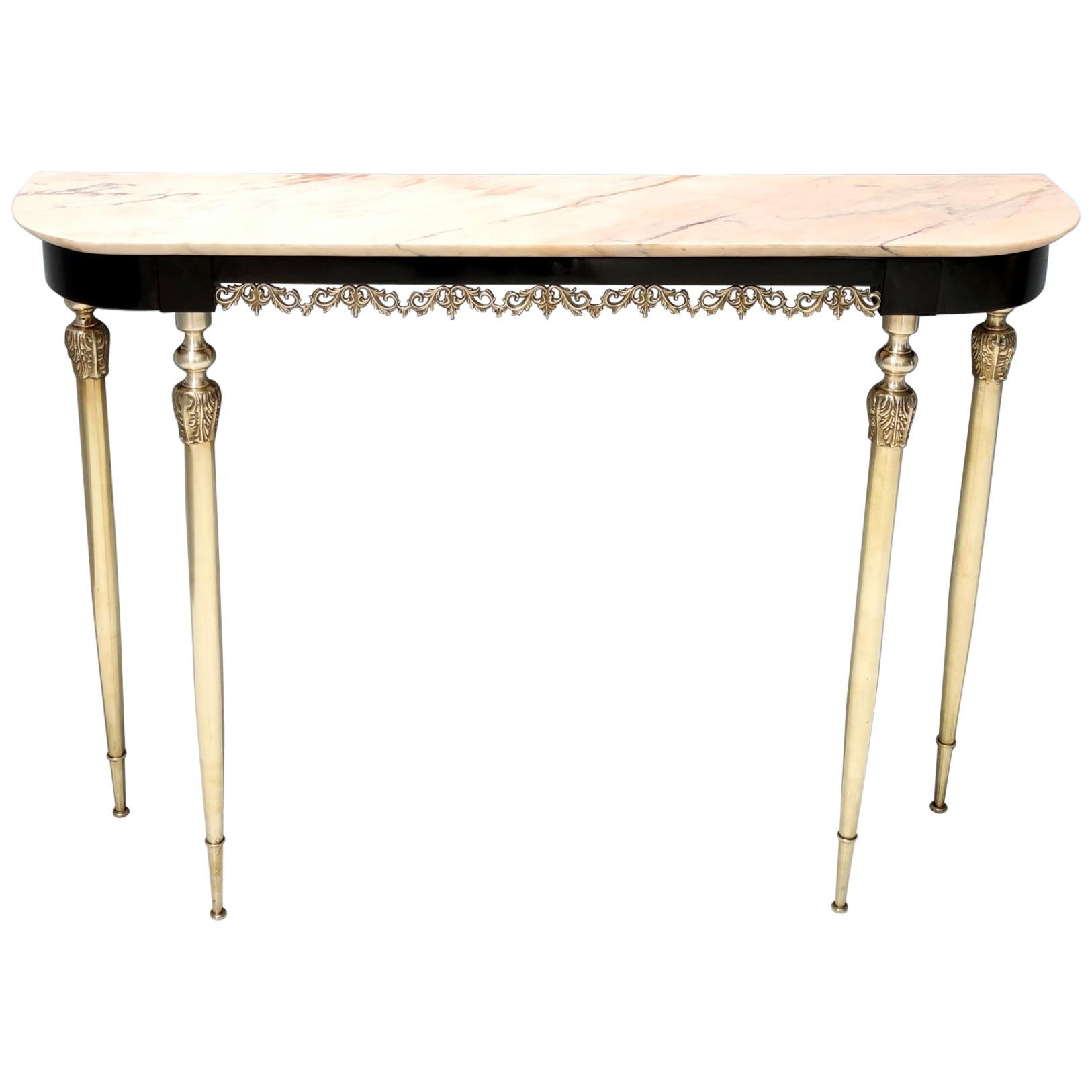 Midcentury Ebonized Beech Console Table with a Portuguese Pink Marble Top, Italy