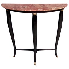 Midcentury Ebonized Beech Console Table with Red Marble Top, Italy, 1950s