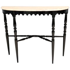 Midcentury Ebonized Beech Console with a Portuguese Pink Marble Top, Italy