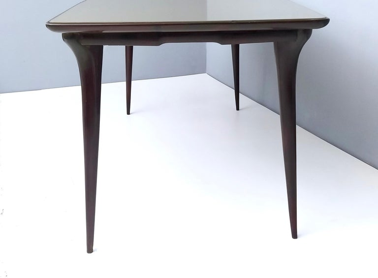 Midcentury Ebonized Beech Dining Table with a Taupe Glass Top, Italy For Sale 4