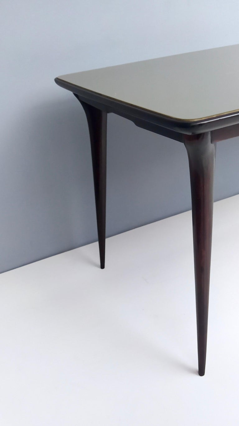 Midcentury Ebonized Beech Dining Table with a Taupe Glass Top, Italy For Sale 5