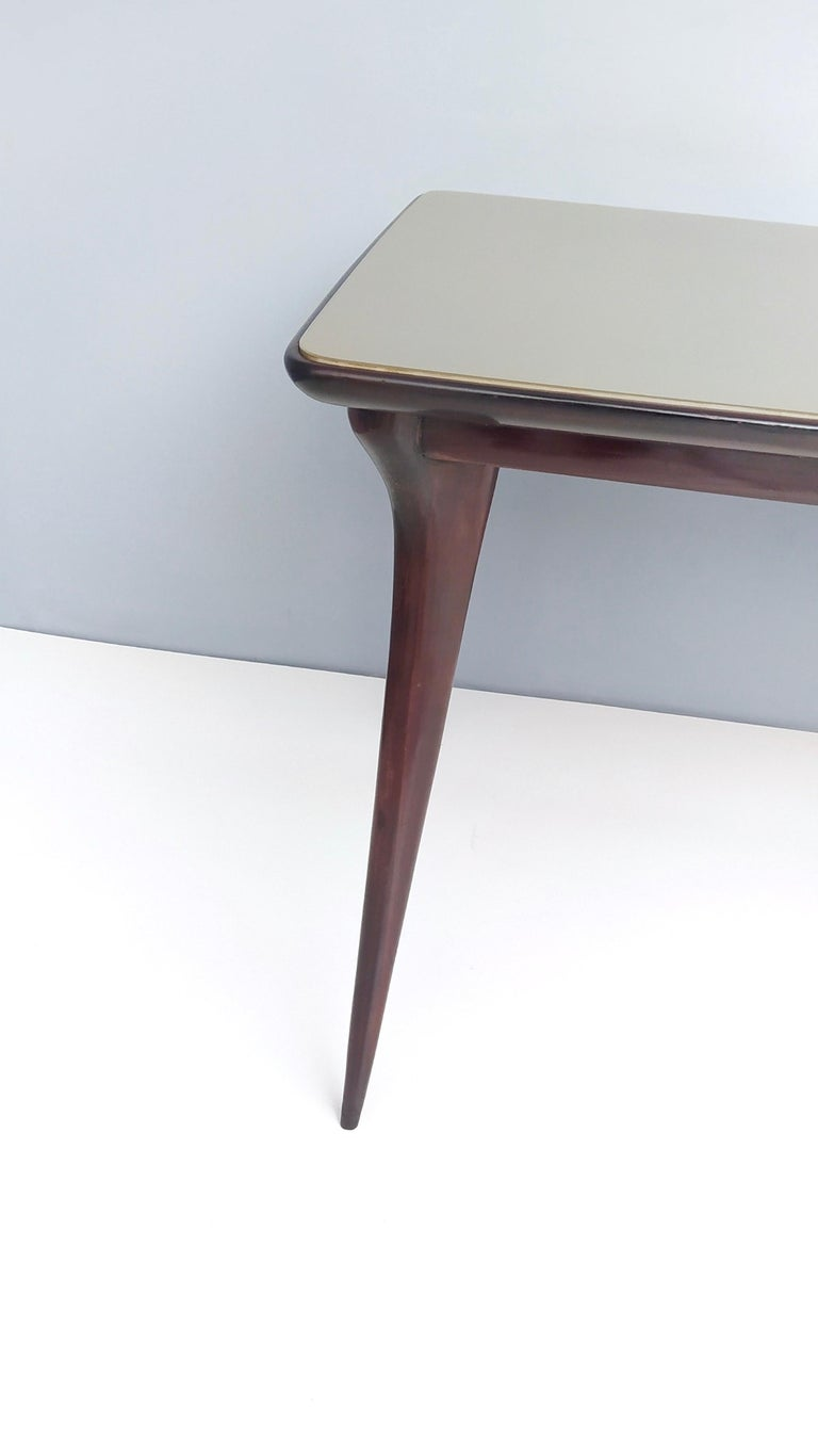 Midcentury Ebonized Beech Dining Table with a Taupe Glass Top, Italy For Sale 6