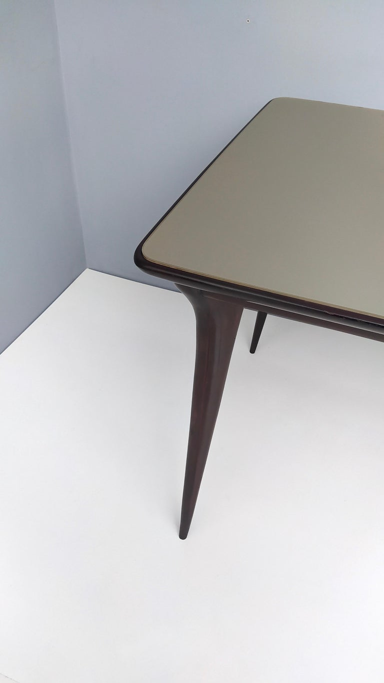 Midcentury Ebonized Beech Dining Table with a Taupe Glass Top, Italy For Sale 7