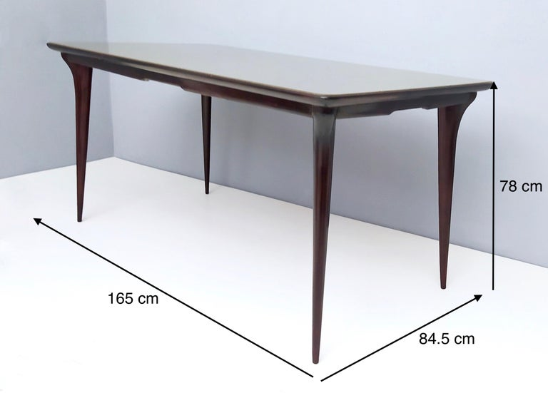 Midcentury Ebonized Beech Dining Table with a Taupe Glass Top, Italy For Sale 8