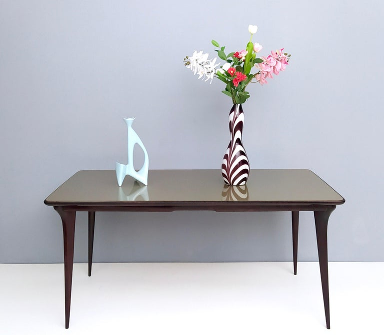Mid-Century Modern Midcentury Ebonized Beech Dining Table with a Taupe Glass Top, Italy For Sale