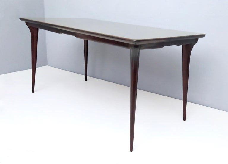 Italian Midcentury Ebonized Beech Dining Table with a Taupe Glass Top, Italy For Sale