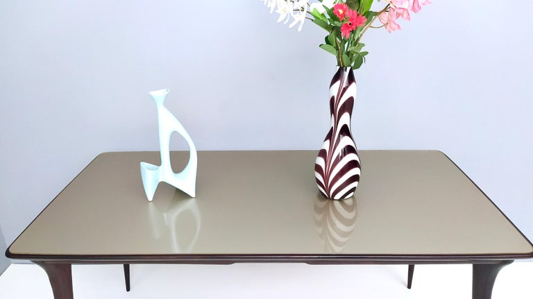 Mid-20th Century Midcentury Ebonized Beech Dining Table with a Taupe Glass Top, Italy For Sale