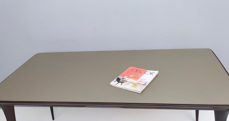 Midcentury Ebonized Beech Dining Table with a Taupe Glass Top, Italy For Sale 1