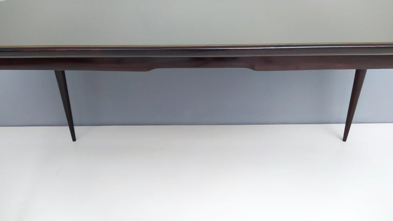 Midcentury Ebonized Beech Dining Table with a Taupe Glass Top, Italy For Sale 3
