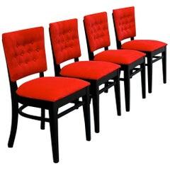 Midcentury Ebonized Oak Café Dining Chairs