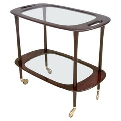 Midcentury Ebonized Walnut and Glass Serving Cart by Cesare Lacca, Italy, 1950s