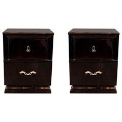 Midcentury Ebonized Walnut End Tables/Nightstands with Sculptural Nickeled Pulls