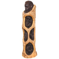 Midcentury Ebony and Bark Hand Carved Tree of Life Sculpture