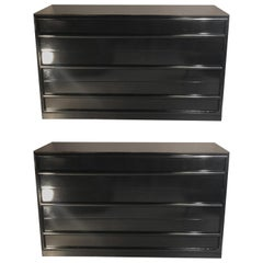 Midcentury Ebony Robsjohn-Gibbings Chests / Commodes, a Pair Lacquered Pristine