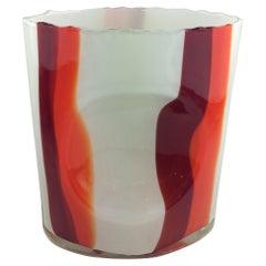 Midcentury Ecole de Nancy Red Orange Stripe French Art Glass Vase