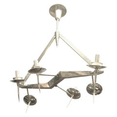 Midcentury, Edgy Polished Nickel Six-Light Chandelier, Style of Yonel Lebovici