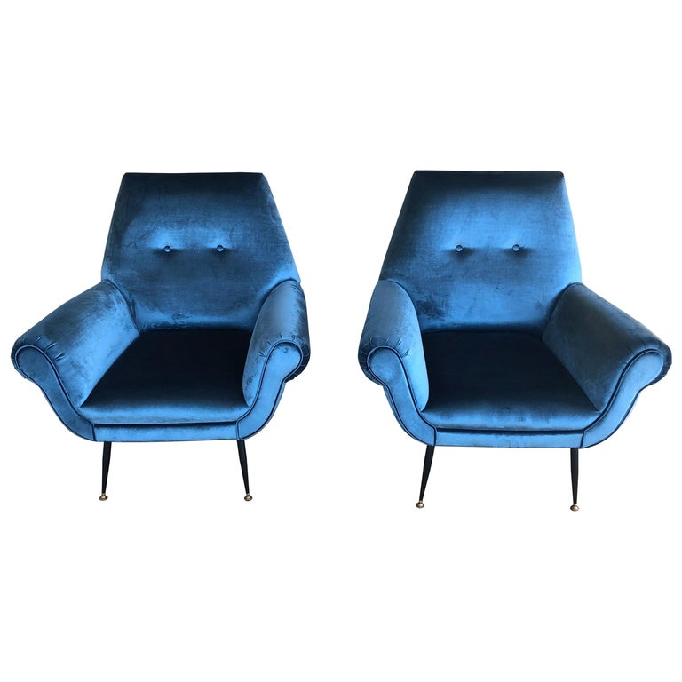 Midcentury Electric Blue Velvet Brass Ending Legs by Radice Armchairs For Sale