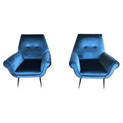 Midcentury Electric Blue Velvet Brass Ending Legs by Radice Armchairs