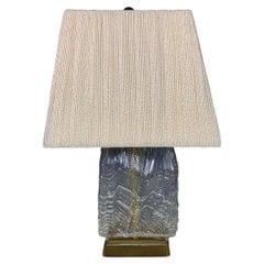 "Midcentury Elegant Swedish ""Ice"" glass and Brass Lamp"