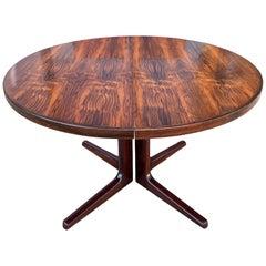 Midcentury Elliptical Danish Rosewood Expandable Dining Table '2' Leaves