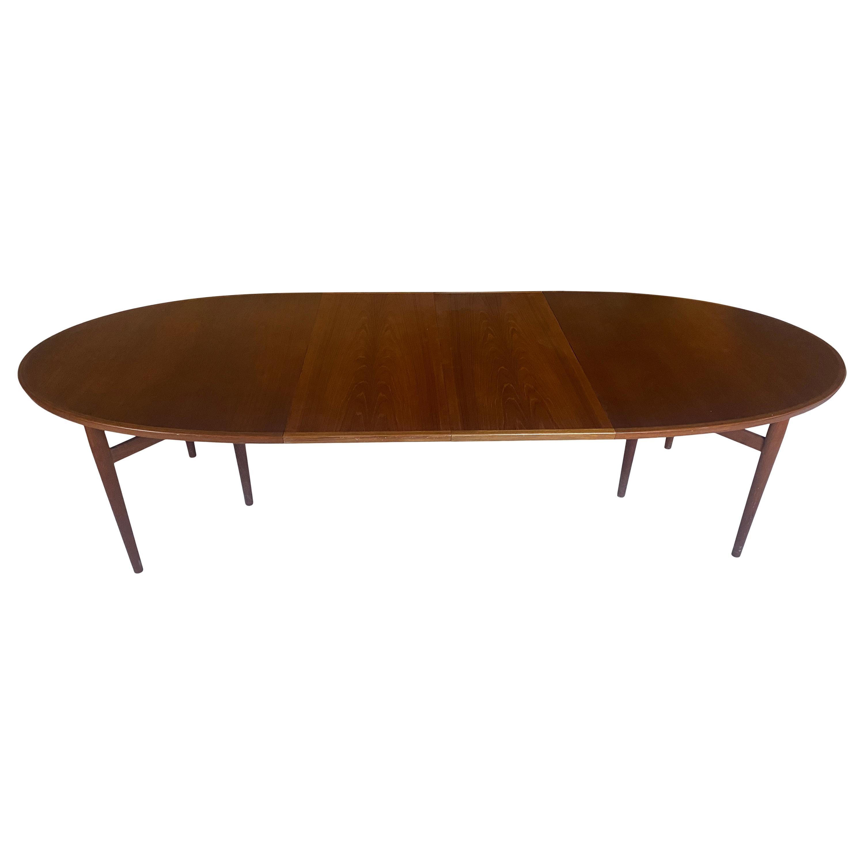 Midcentury Elliptical Danish Teak Expandable Dining Table by Arne Vodder No. 212