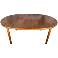 Midcentury Elliptical Oval Swedish Teak Dining Table by DUX