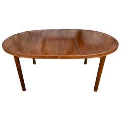 Midcentury Elliptical Oval Swedish Teak Expandable Dining Table '2' Leaves