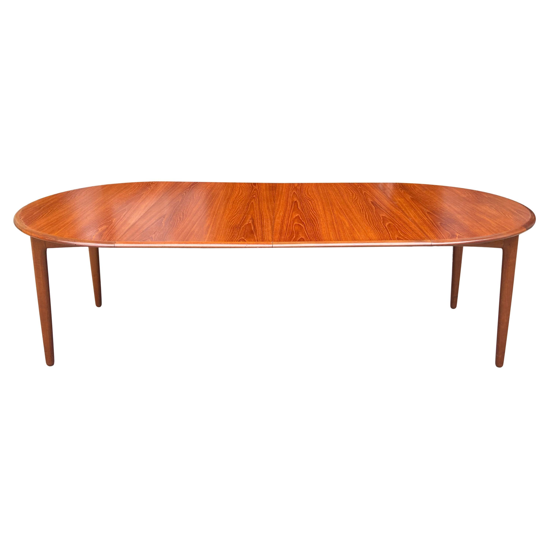 Midcentury Elliptical Oval Teak Expandable Dining Table '2' Leaves