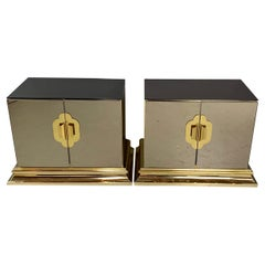 Midcentury Ello Nightstands in Smokey Glass and Brass
