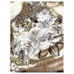 Vintage Embroidered Silk Charmeuse Fabric, White Floral Champagne Taupe, Rare