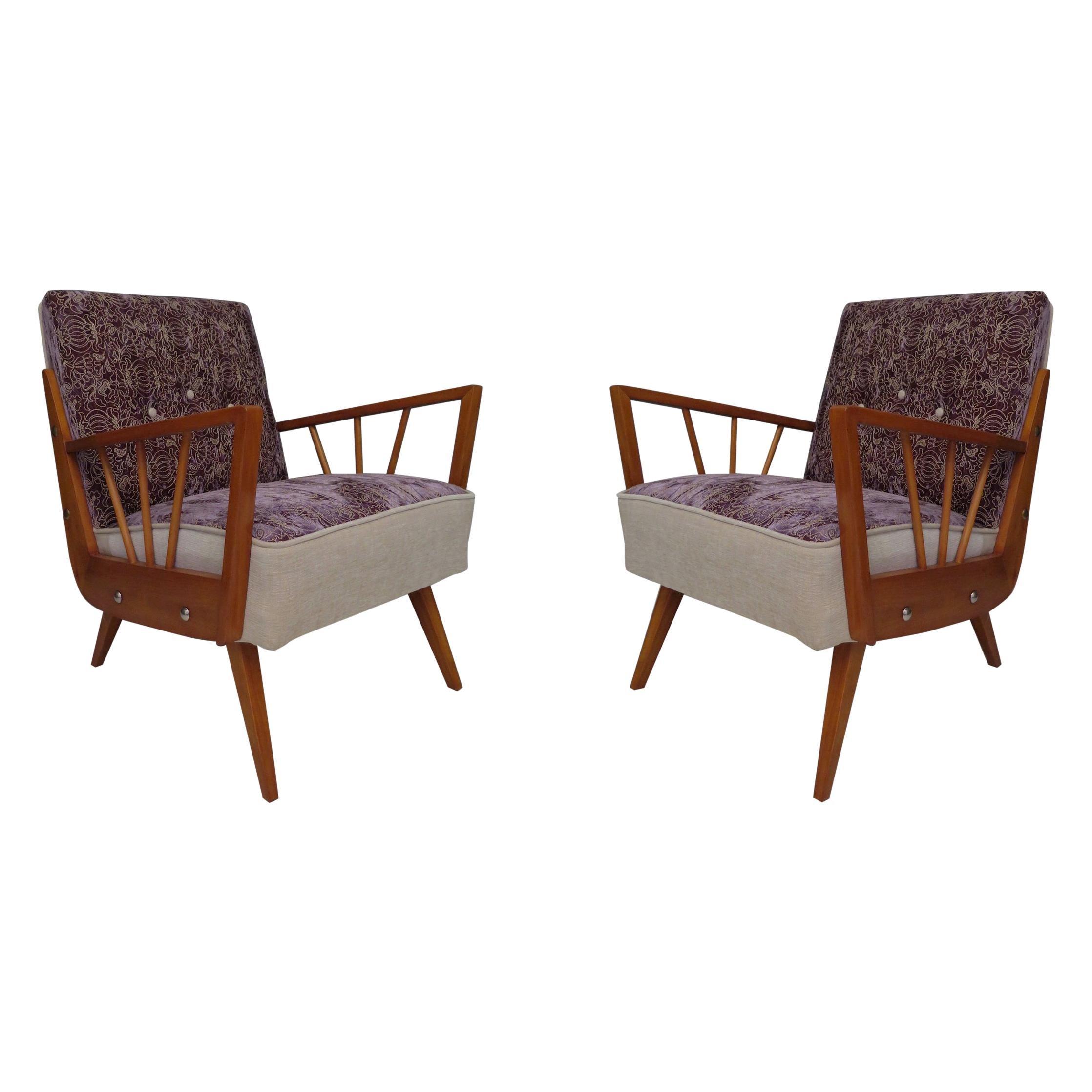Midcentury Embroidered Velvet and Light Wood Italian Armchairs, 1950