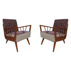 Midcentury Embroidered Velvet and Light Wood Italian Armchairs, 1950