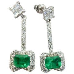 Midcentury Style Emerald and Diamond Drop Earrings 18 Karat