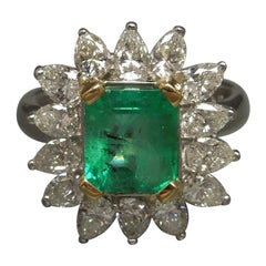 Midcentury GIA Emerald and Pear Cut Diamond Cocktail Ring