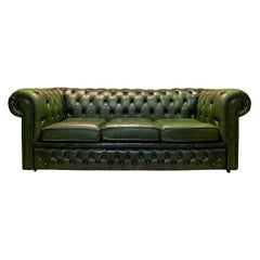 Midcentury English Emerald Green Chesterfield Sofa