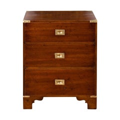 Midcentury English Mahogany Campaign Chest with Brass Hardware and Bracket Feet