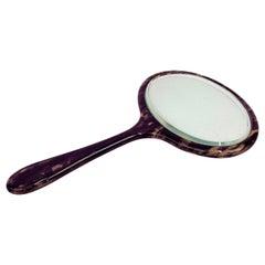 Midcentury English Oval Faux Tortoiseshell Portable Mirror, 1950s