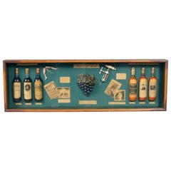 Midcentury English Portobello Famous Wines in the World on Display Case