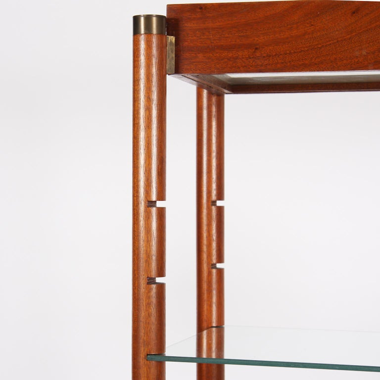 20th Century Midcentury English Wooden and Glass Bookshelf with Light Up Shelves For Sale