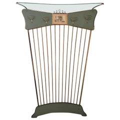 Mid-Century Entrance Coat Rack with Watercolour, Italy in the Style of Gio Ponti