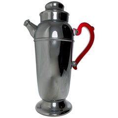 Mid-Century Era Art Deco Style Chrome and Ruby Red Bakelite Cocktail Shaker