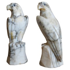 Midcentury Era Hand Carved Pair of Alabaster Majestic Eagle Sculptures