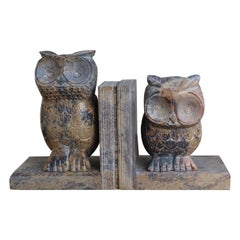Midcentury Era, Hand Carved Purple & Terra Color Marble Sculpture Owl Bookends