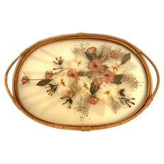 Midcentury Era Handwoven Wicker and Stunning Dried Flowers Inlaid Serving Tray