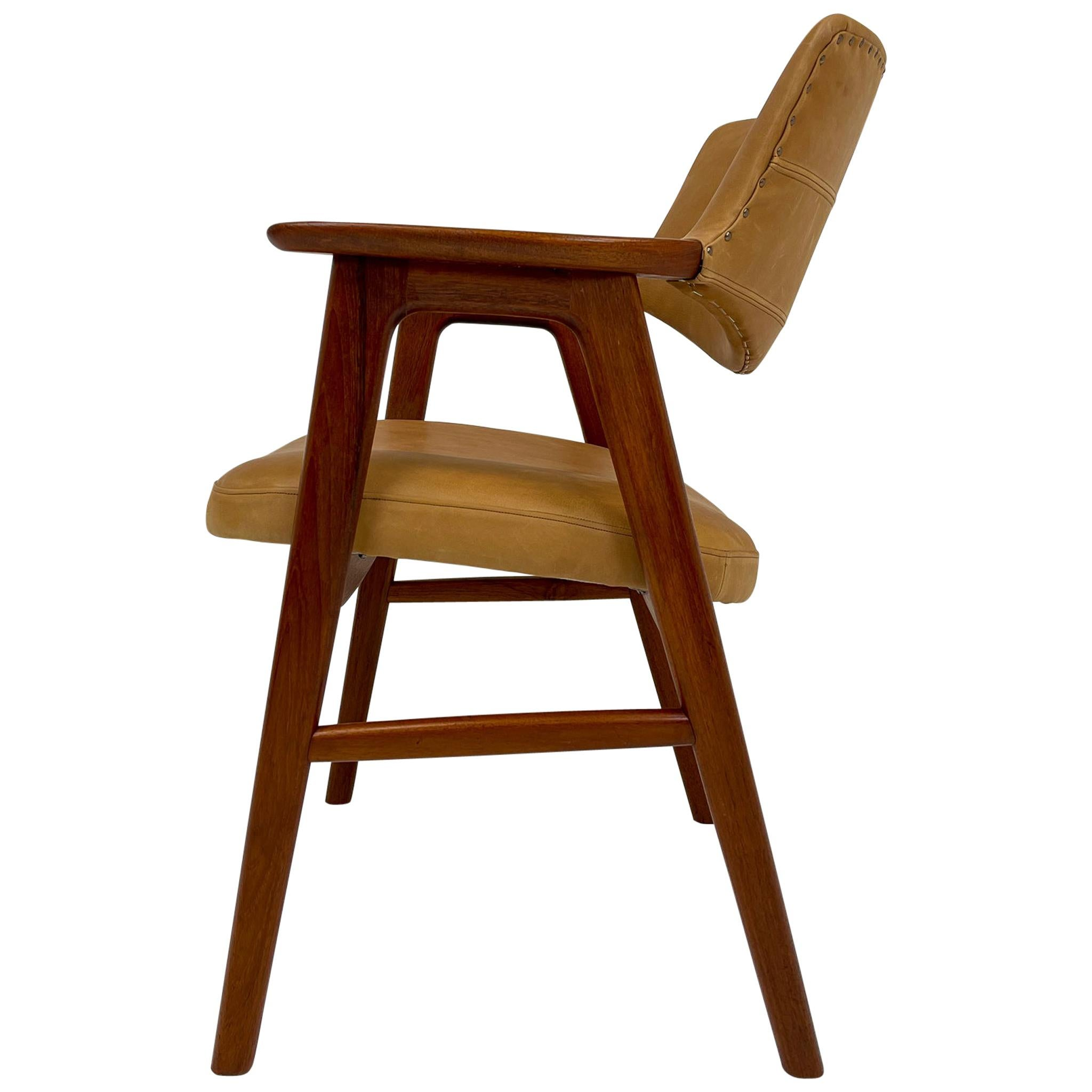 Midcentury Erik Kirkegaard Danish Teak and Leather Desk Chair, 1960s